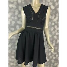 Alice Through The Looking Glass Dress Womens Medium Black Eyelet Fit & Flare