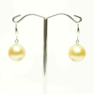 Large South Sea Pearl Earrings,11.8mm Golden Pearls, 18k white gold, Natural