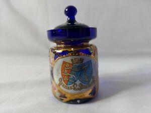 Hastings And St Leonard's Cobalt Blue Decorated Jar 9cm High