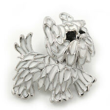 White Enamel Yorkie Puppy Dog Brooch In Rhodium Plating - 4cm Length