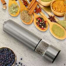 Electronic Light up Salt & Pepper Mill Stainless Steel Grinder Pots Beans Sugar
