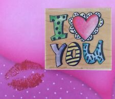 I Heart You Text Saying Wood Mount Rubber Stamp Anniversary Romance Love Phrase