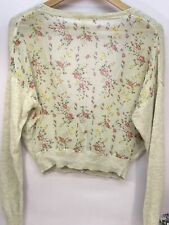 River Island Women's Ladies Cardigan Shrug Floral Sheer Panel Size 8 Small
