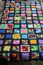 Vintage Handmade Crochet Granny Square Patchwork Afghan/Throw Black Rainbow