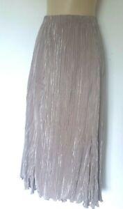 Bronze Crinkle Calf Length Skirt Size M - L Elasticated Waist Immaculate
