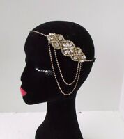 Gold Silver Chain Headpiece 1920s Headband Great Gatsby Flapper Diamante 4291