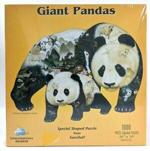 Vintage Wooden Puzzle Piece Brooch Cruising Pandas