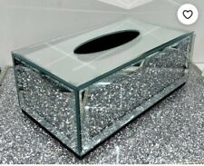 Tissue paper Box Bling Ornament Silver Crushed Crystal Diamond