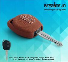 KeyZone Silicone Key Cover for Suzuki Swift, Dzire, SX4, Ertiga, WagonR (Cognac)