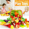 Toy Play Fruit Food Pretend Vegetable Kitchen Cutting Set Role Kids Child Gif UL
