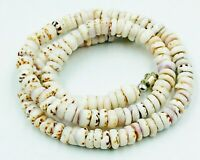 LOVELY EXAMPLE GENUINE HAWAIIAN TIGER SPECKLED PUKA SHELL NECKLACE 16 1/2 INCH