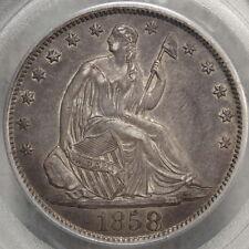 1858-O Seated Liberty Half Dollar, Very Original PCGS AU-50 Coin, PQ