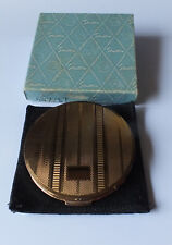 Vintage engine turned Gold tone Stratton powder compact with original box