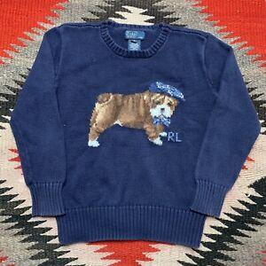 Vintage Polo Dog Knit Sweater Toddler Size 7 Ralph Lauren Rare RL Boys