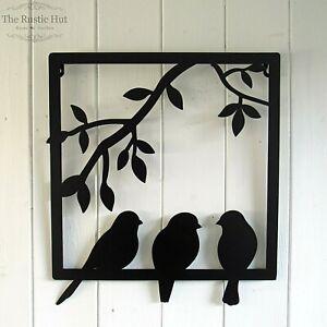 Three Birds in a Frame Wall Art Garden Decoration - Black
