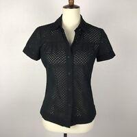 Theory Petite Women Sz P Button Down Top Shirt Black Eyelet Pleated Semi Sheer
