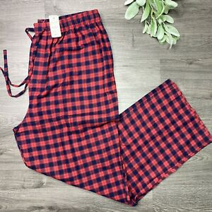 BROOKS BROTHERS Men's Small Flannel Pajama Lounge Pants Red Navy Plaid NWT