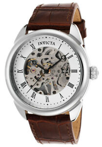 Invicta 17185 42mm Specialty Mechanical Analog Skeleton Dial Brown Leather Watch