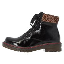 Ladies Rieker Boots Black Patent Chunky Padded colour Style