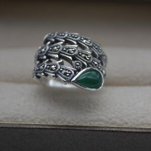 Solid 925 Sterling Silver Ring 18mm Green Chalcedony Feather Ring Size: 5-10