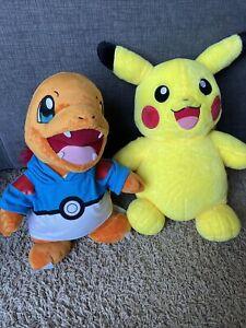 """Build A Bear Pokemon Charmander & Pikachu 16"""" & 18"""" Plush Sound BAB"""