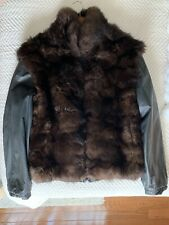 Brown Fur Coat Black Leather Reversible Bomber Men Medium Mink