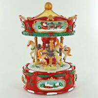 Christmas Themed Musical Carousel Rotating With 3 Beautiful Horses Music Box