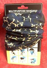 Multipurpose Head Face Mask Snood Bandana Neck Sport Scarf - Blue & Tan