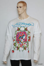 Nwt Ed Hardy 'Beautiful Ghost' Men's Double Sleeve Tee Top T-Shirt ~White *XXL