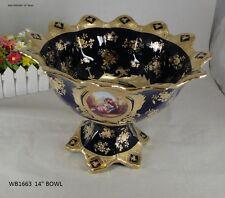 """Limoges Style Pedestal Fruit Bowl in Cobalt Blue & Gold Romance Design-14"""""""