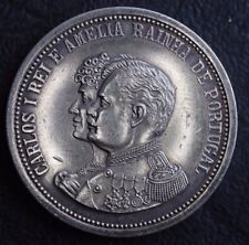 Rare! 1908 Silver Medal King Carlos and Amelia