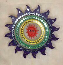Purple Large Sun Wood and Mirror Hanging Sun Mobile Suncatcher Handmade
