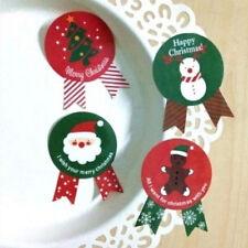 48X père Noël arbre bonhomme de neige scellant étiquette papier autocollant BBFR