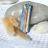 Handmade Dichroic Glass Pendant Necklace Women's Jewellery Red yellow blue gold