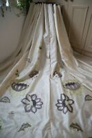 CREAM BROWN LIME EMBROIDERED EYELET CURTAINS,66WX93D,FAUX SILK,SHIMMER,LINED