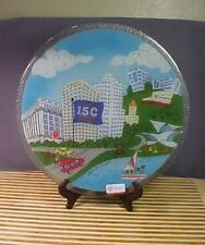 """Signed Peggy Karr Studio Fused Art Glass 11"""" Plate Milwaukee Wisconsin 150 Years"""