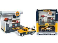 """Ford F-250 Tow Truck 1959 and """"Gulf"""" Service Station Diorama Set,Scale 1:64"""