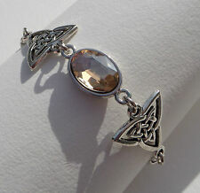 BRACELET DARK SILVER PLATED TRI CELTIC KNOTS & FACETED YELLOW GLASS CRYSTAL OVAL