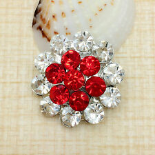 NEW Rhinestone Red Petal Charm Chunk Snap Button fit for Noosa Bracelet IOP05