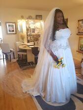 Mikado Plus Size Wedding Dress with Beaded Waist with Skirt Slip