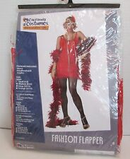 California Costumes Fashion Flapper Red Dress Headband Feather Small 6-8 NEW