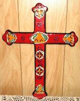 Traditional Large Mexican Folk Art Red Talavera Pottery Cross Wall Art