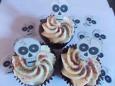15 Precortada Comestibles Halloween Calaveras wafer/rice papel cake/cupcake Toppers