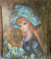VINTAGE MAIO SERENADE IN BLUE LITHOGRAPH PRINT BIG EYED GIRL MOD 1960S