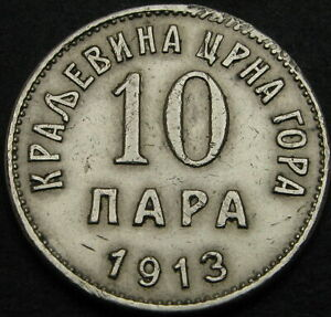 1913  -  MONTENEGRO  - 10 ( TEN )  PARA SILVER  COIN  - NICE GRADE - RARE - NR