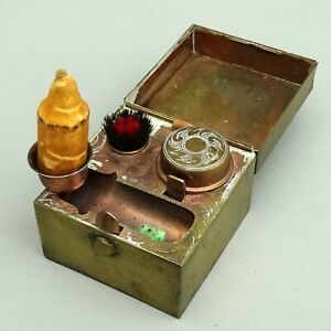Antique Travelling Inkwell in Brass Case ~ Candle & Nib Wipe Brush / Austria