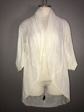 LN Kersh Ivory Thin Wool Blend Cocoon Cardigan Sweater Size S/M