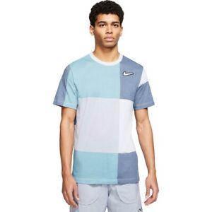 NIKE men's Large Nike Dri FIT Wild Run 2 Tee T-shirt gray blue patchwork EUC