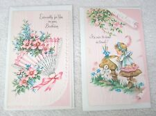 2 Vintage Greeting Cards Keep In Touch Bunny Mushroom Birthday Fan AP89