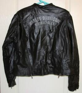 HARLEY DAVIDSON Women Ladies 2XL Black Gray Leather Motorcycle Jacket